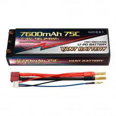 Аккумулятор VANT Black Li-Po 2S2P 7600mAh 75C T-Plug (Deans) Hard case