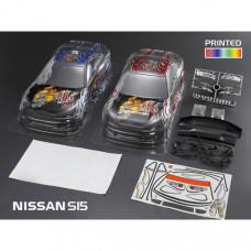 Кузов NISSAN S15  частично окрашенный с отражателями, спойлерами и дворниками красный