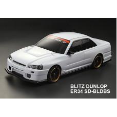 Кузов Nissan GTR (R34) Blitz Dunlop не окрашенный с отражателями, наклейками и спойлером