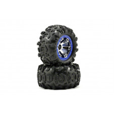 Tires and wheels, assembled, glued (Geode chrome, blue beadlock style wheels, Canyon AT tires, foam