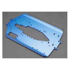 Chassis, T-Maxx, long wheelbase (extended 30mm) (6061-T6 aluminum, 4.0mm) (blue anodized)