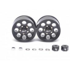 1.55 Terra Classic 8-Hole Aluminum Beadlock Wheels w/ 3mm Wideners Black x4